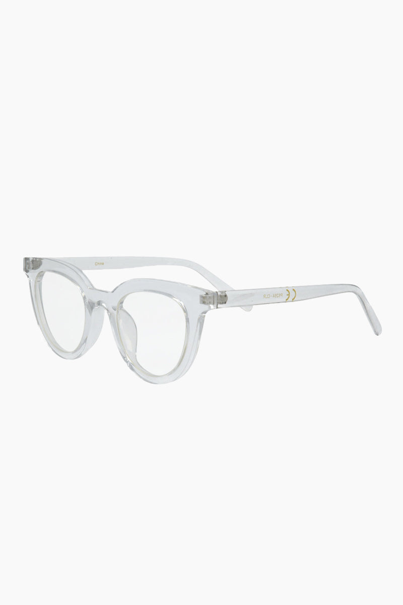 I-SEA Canyon Glasses - Clear Sunglasses | Clear| I-Sea Canyon Sunglasses - Clear Retro-Inspired Cat-Eye Sunglasses Frame Color: Clear Lens Color: Clear   100% UV / UVB Protection Side View