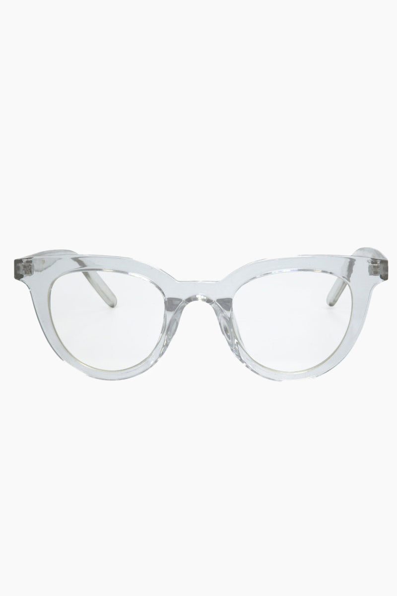 I-SEA Canyon Glasses - Clear Sunglasses   Clear  I-Sea Canyon Sunglasses - Clear Retro-Inspired Cat-Eye Sunglasses Frame Color: Clear Lens Color: Clear   100% UV / UVB Protection Front View