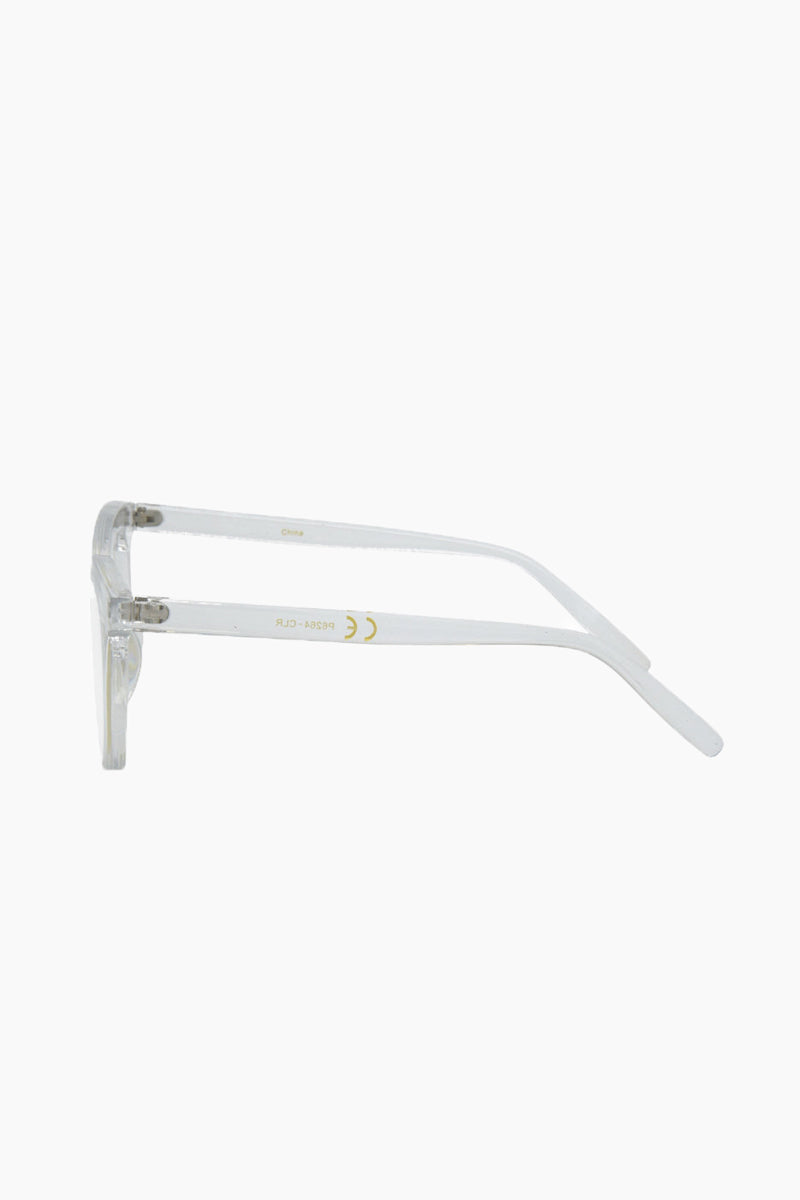 I-SEA Canyon Glasses - Clear Sunglasses   Clear  I-Sea Canyon Sunglasses - Clear Retro-Inspired Cat-Eye Sunglasses Frame Color: Clear Lens Color: Clear   100% UV / UVB Protection Side View
