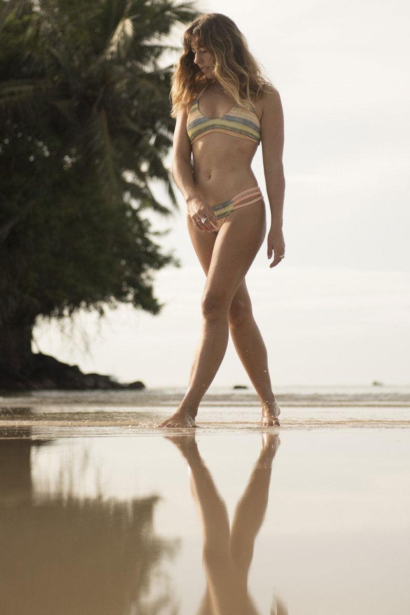 SEEA Capitola Sporty Scoop Neck Reversible Bralette Bikini Top - Alamo Print Bikini Top | Alamo| Seea Adria Bikini Top
