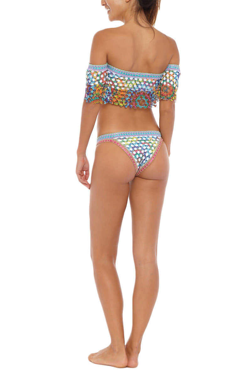 CAPITTANA Anegada Top Bikini Top   Multi  Capittana Anegada Bikini Top back view Free-spirited rainbow tie-dye crochet overlay off the shoulder bikini top.