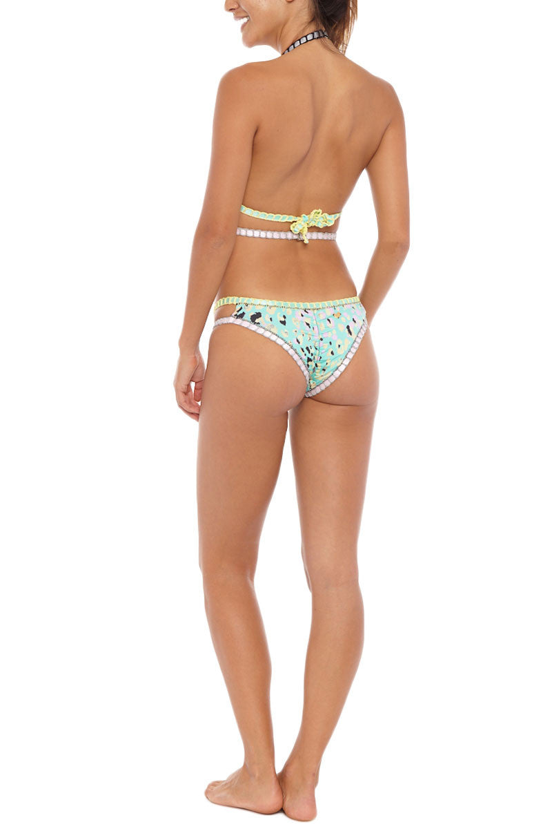 CAPITTANA Naxos Reversible Bottom Bikini Bottom   Aqua/Black  Capittana Naxos Reversible Bikini Bottom back view Breezy aqua leopard print and sleek black reversible cut out bikini bottom with crochet trim.