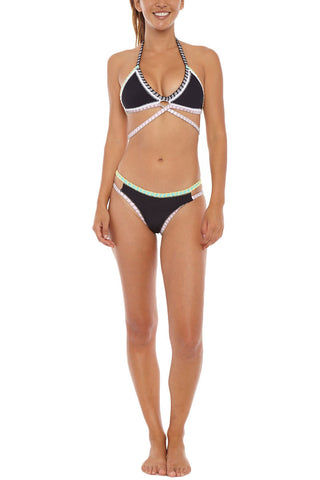 CAPITTANA Naxos Reversible Bottom Bikini Bottom | Aqua/Black| Capittana Naxos Reversible Bikini Bottom front view Breezy aqua leopard print and sleek black reversible cut out bikini bottom with crochet trim.