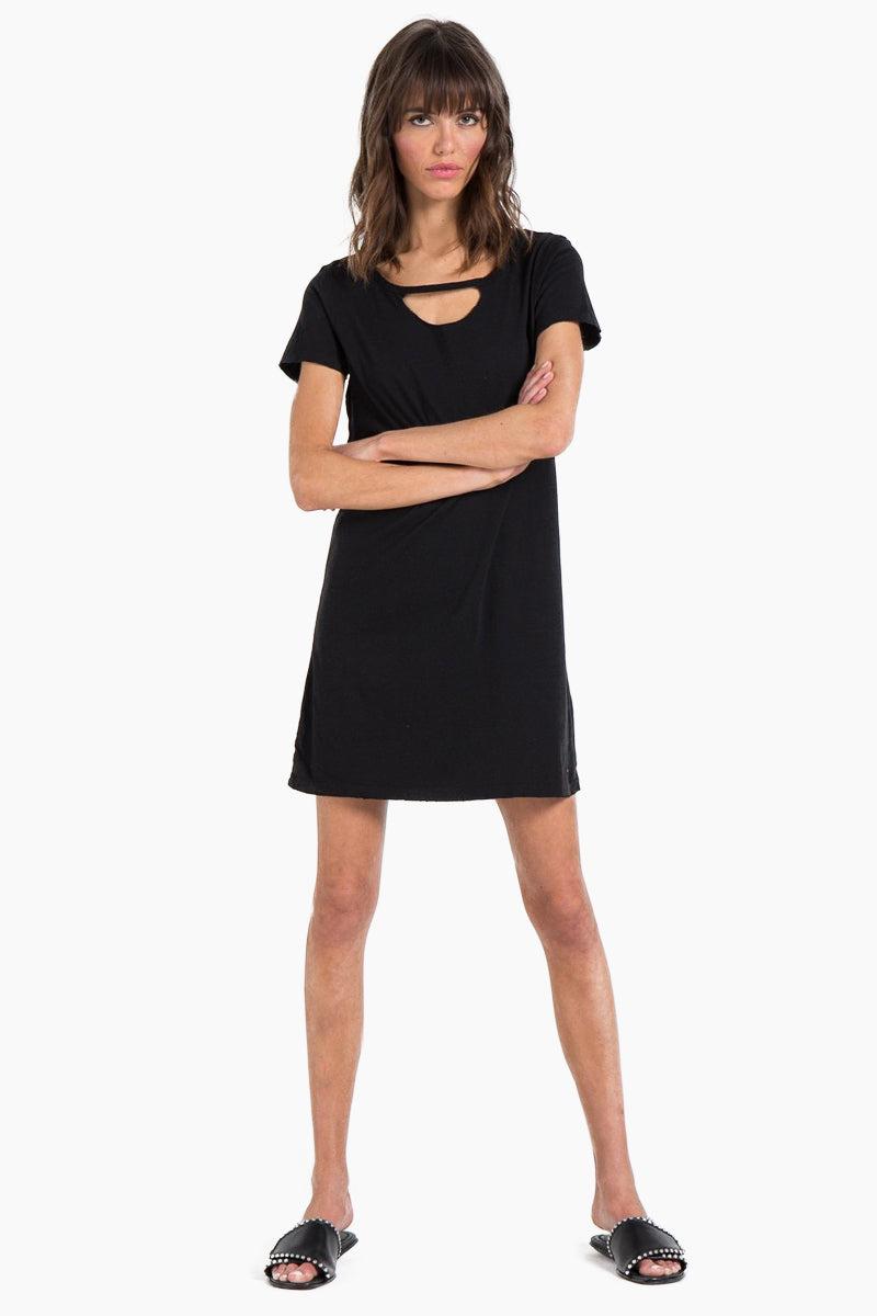 N:PHILANTHROPY Carlita T Shirt Mini Dress - Black Cat Dress | Black Cat| n:Philanthropy Carlita Mini Dress - Black Cat Mini t-shirt dress Round neckline  Short sleeves  Front cut out detail  Front View