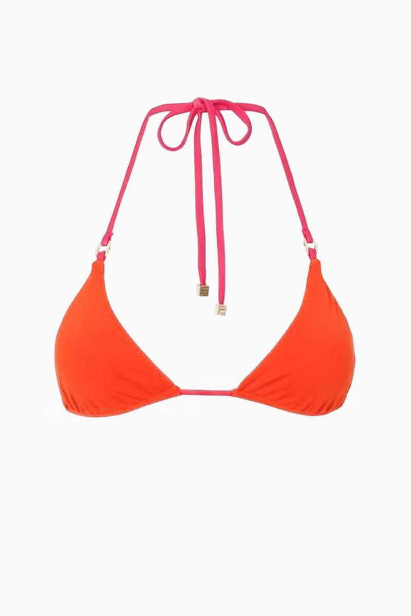 FELLA Carlo Top - Burnt Orange/Fresia Bikini Top | Burnt Orange/Fresia| Carlo Top - Features:   Classic triangle top  Signature FELLA disc ring hardware  Adjustable halter neck tie  Center back tie  Metal square beads at the ends of strings Italian lycra