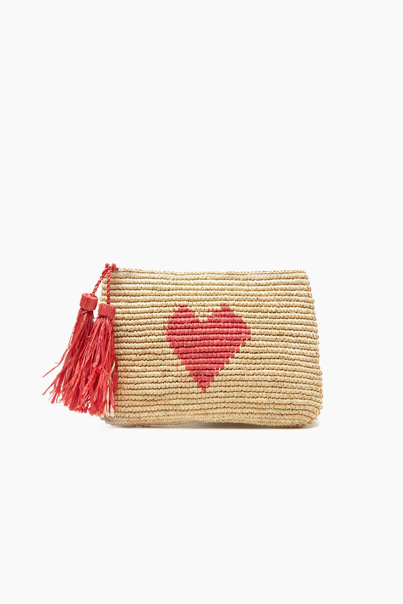MAR Y SOL Carrie Crocheted Raffia Clutch With Cotton Lining, Zip Closure & Raffia Tassels - Coral Bag | Coral| MAR Y SOL Carrie Crocheted Raffia Clutch With Cotton Lining, Zip Closure & Raffia Tassels Front View