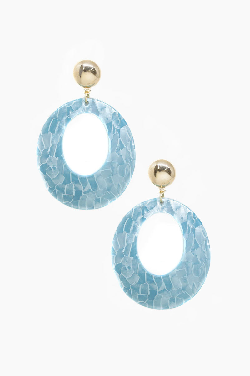ETTIKA Catch The Wave Earrings - Aqua & Gold Jewelry | Aqua & Gold| Ettika Catch The Wave Earrings - Aqua & Gold Full View Dangling Earrings  Aqua Blue Acrylic Hoops Detail  18kt Gold Plated Brass Surgical Steel Posts  Nickel Free  Length: 3 inches