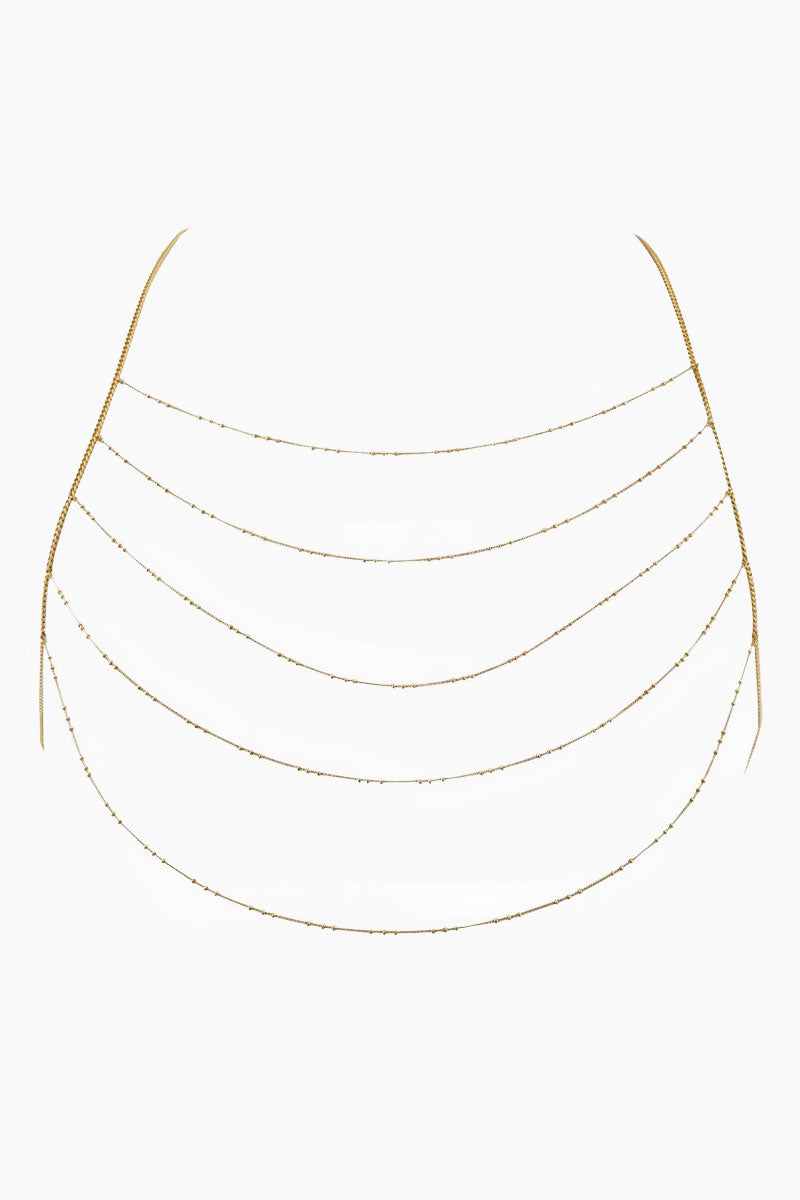 """LUV AJ Chain Bib Bodychain - Gold Jewelry 