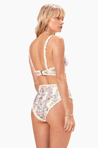 FOR LOVE AND LEMONS Charleston High Waist Bikini Bottom - Robin Blue Bikini Bottom | Robin Blue| For Love And Lemons Charleston High Waist Bikini Bottom - Robin Blue. Features:   High Waist High Cut Contrast Ruffles Contrast Binding Cheeky Slimming fit Side View