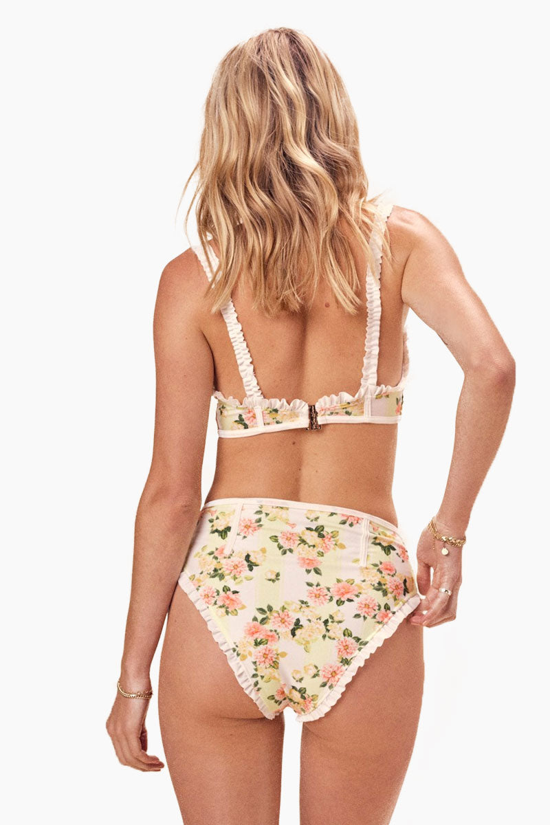 FOR LOVE AND LEMONS Charleston High Waist Bikini Bottom - Buttercreme Bikini Bottom | Buttercreme| For Love And Lemons Charleston High Waist Bikini Bottom - Buttercreme. Features:   High Waist High Cut Contrast Ruffles Contrast Binding Cheeky Slimming fit Back View
