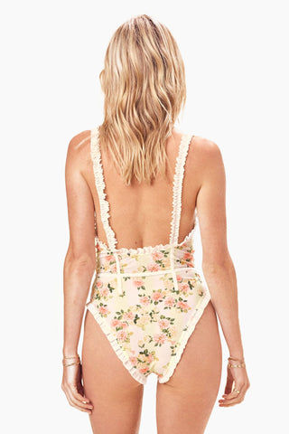 FOR LOVE AND LEMONS Charleston Ruffle One Piece Swimsuit - Buttercreme One Piece |  Buttercreme| FOR LOVE AND LEMONS Charleston Ruffle One Piece Swimsuit - Buttercreme. Features:  Soft Cups Contrast Ruffled Trim Elasticated Shoulder Straps Contrast Binding Pull On Back View