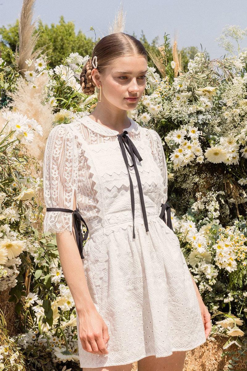 FOR LOVE AND LEMONS Charlotte Eyelet Overalls Mini Dress - White Heart Dress | White Heart|
