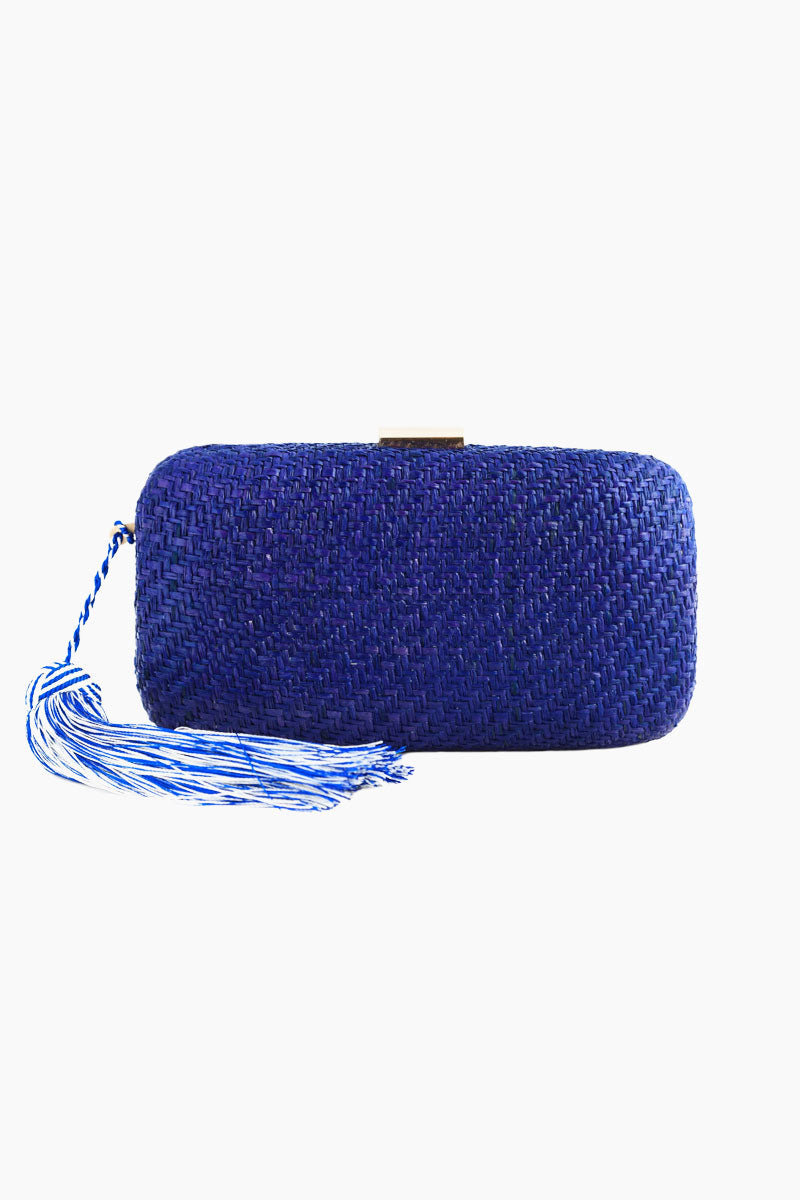"""KAYU Charlotte Silk Tassel Straw Clutch - Blue Bag 