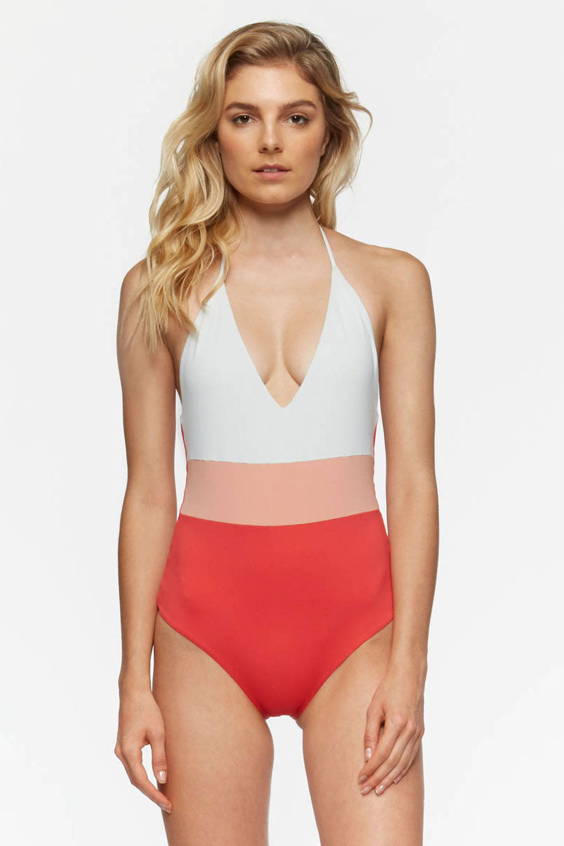2bad6a6515 ... TAVIK Chase Reversible Color Block Halter One Piece Swimsuit - Ivory  White/Pink/Hibiscus ...