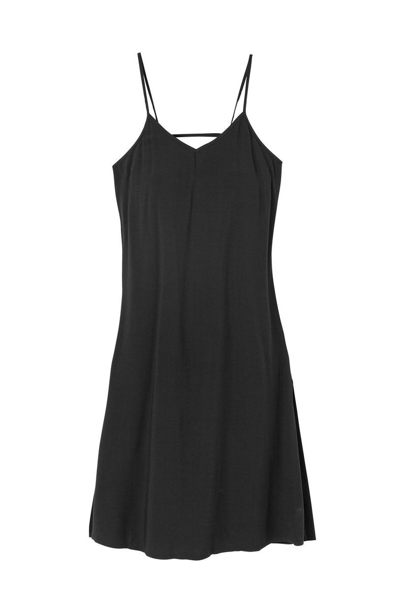 RVCA Chasing Shadows Midi Dress - Black Dress | Black| RVCA Chasing Shadows Midi Dress - Black Midi dress  V-cut neckline Thin spaghetti straps Lightweight woven Cross at the back Side slits that create a flowy silhouette 100% rayon Flatlay View View