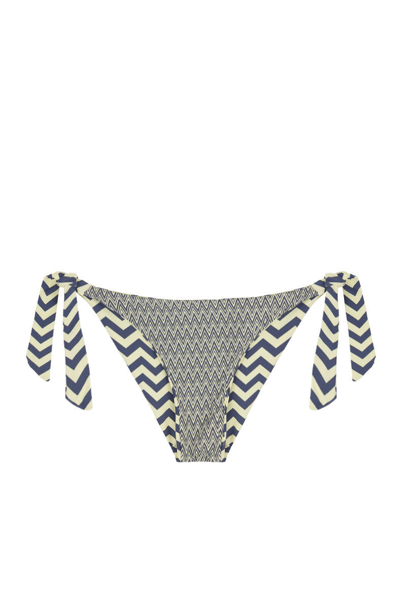 BEACH JOY Reversible Tie Side Bikini Bottom Bikini Bottom | Reversible Yellow & Gray|