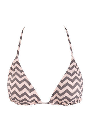 BEACH JOY Reversible Triangle Bikini Top - Pink & Gray Chevron Print Bikini Top | Pink & Gray Chevron Print| Beach Joy Reversible Triangle Bikini Top - Pink & Gray Chevron Print. Ties at neck. Adjustable cups. Fully Lined. Front View