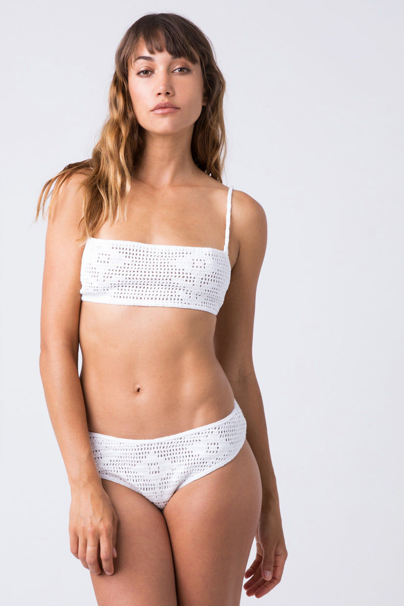 INDAH Chia Crochet Bottom - White Bikini Bottom | White| Indah Chia Crochet Bottom - White Flatlay View Hipster Bottom  Cheeky-Moderate Coverage Crochet Knit Fabric  100% Cotton  Hand wash cold