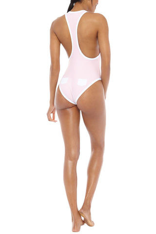 CHLOE ROSE Peony Pocket Racerback Deep V One Piece Swimsuit - Pink One Piece | Pink| Chloe Rose Peony Pocket One Piece