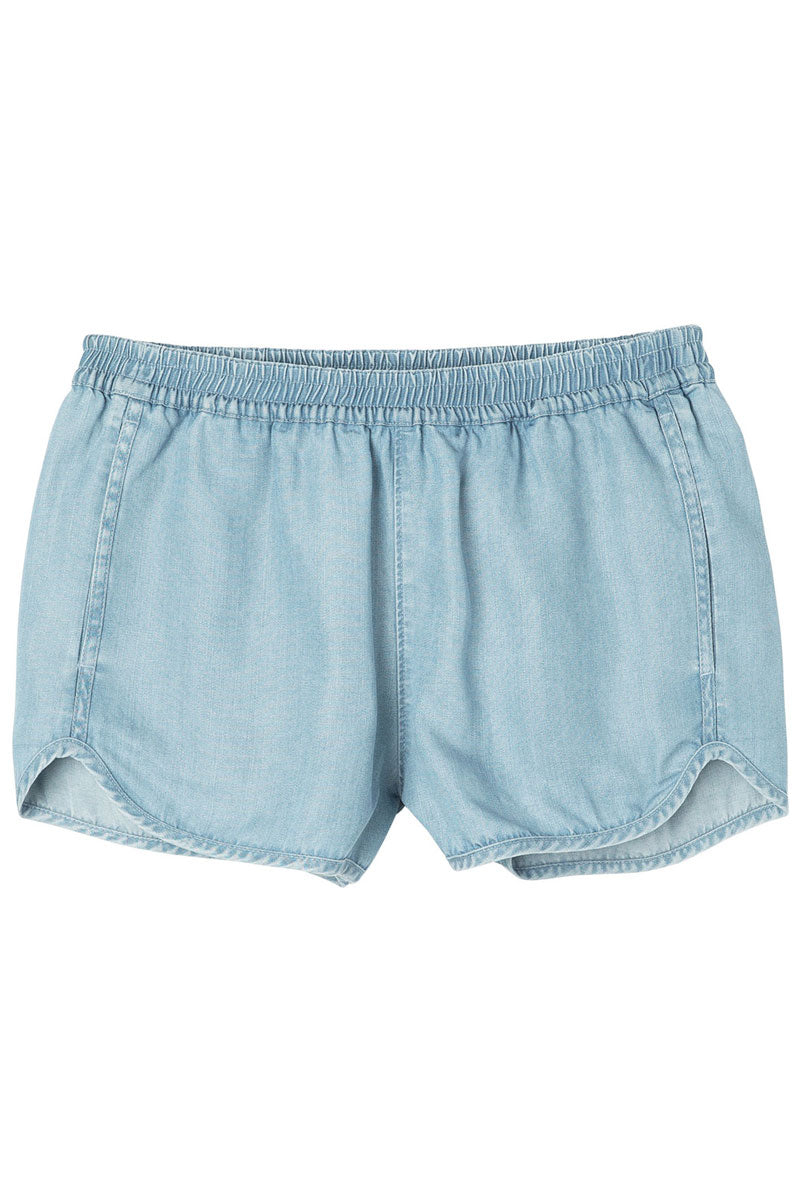 RVCA Coastal Elastic Shorts - Chambray Shorts | Chambray| RVCA Coastal Elastic Shorts - Chambray  Features:  Chambray soft shorts Low-rise silhouette Elastic waistband for a comfortable fit Seam pockets Curved hemline Back welt pockets 100% lyocell Flatlay View