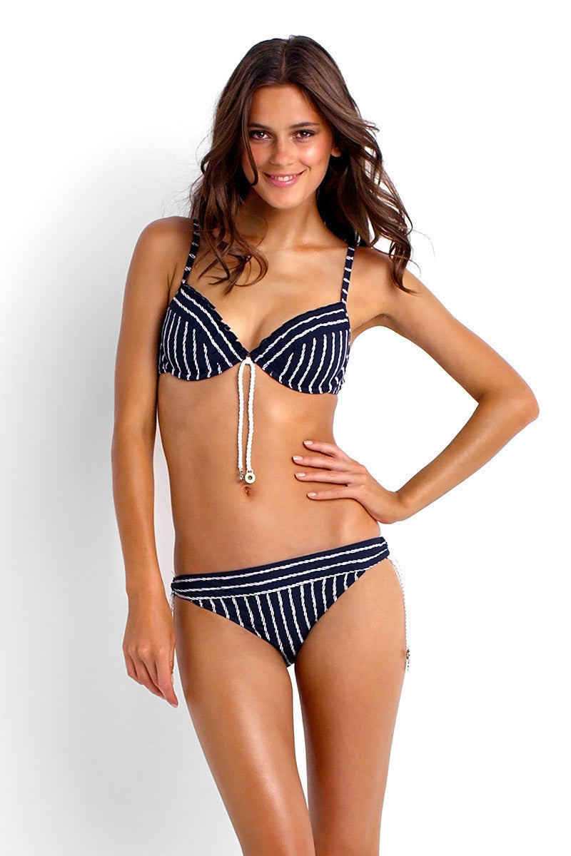 SEAFOLLY Coastline Tie Side Hipster Bikini Bottom - Indigo Bikini Bottom | Indigo|Chelsea