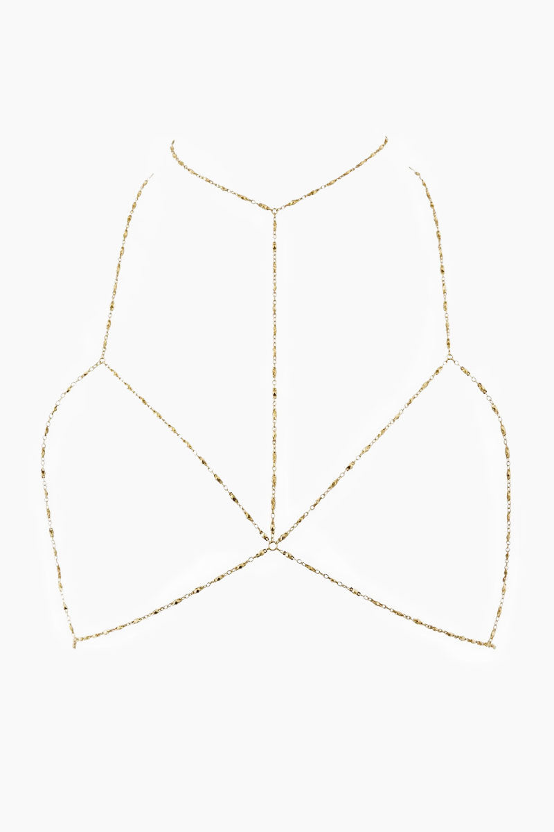 """LUV AJ Coco Chain Bra - Gold Jewelry 