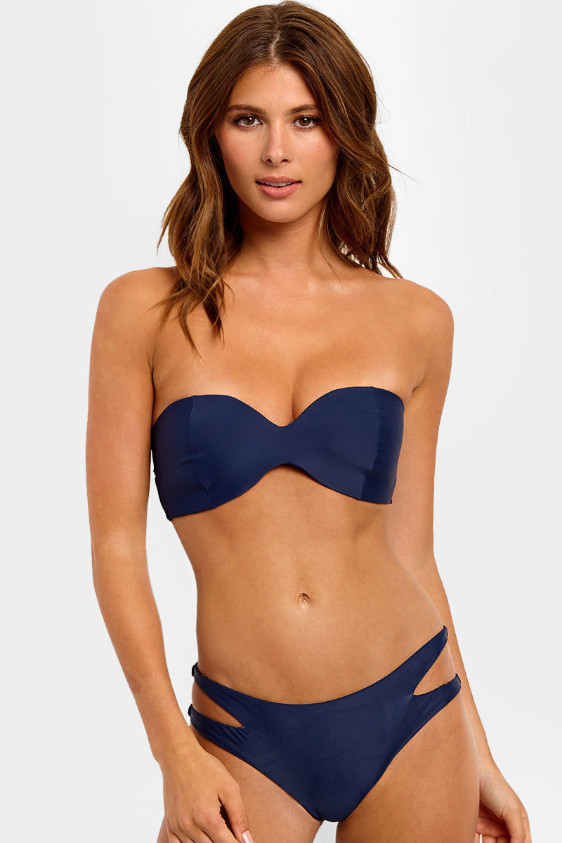ACACIA Coconut Bandeau Bikini Top - Catch Of The Day Blue Bikini Top | Catch Of The Day Blue| Acacia Coconut Bandeau Bikini Top - Catch Of The Day Blue. Features: Deep blue-colored bandeau bikini top with sweetheart neckline. View: Front View