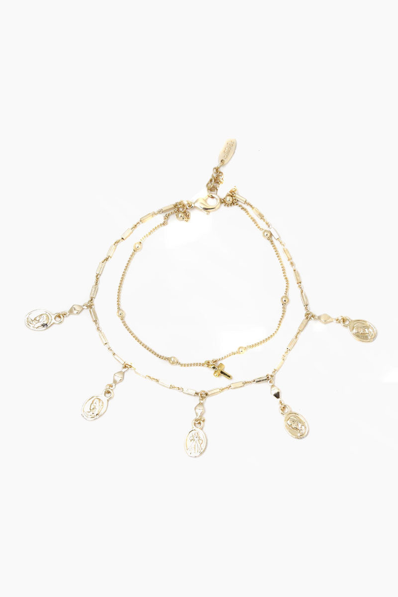 ETTIKA Coin Duster Anklet - Gold Jewelry | Gold| Ettika Coin Duster Anklet - Gold Full View  Gold Anklet Coin & Cross Charms Lobster Claw Closure  Extra Chain Links For Adjustability 18k Gold Plated