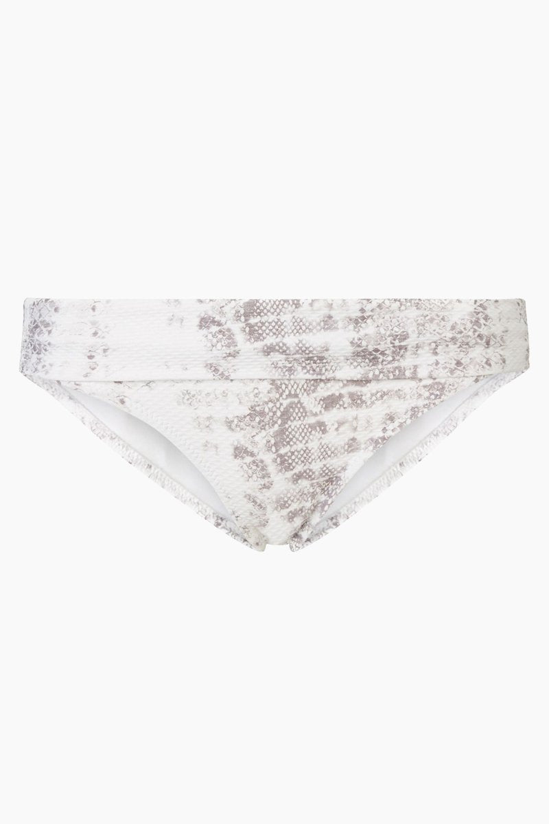 HEIDI KLEIN Fold Over Bikini Bottom - Snake Grey Bikini Bottom | Snake Grey| Heidi Klein Fold Over Bikini Bottom - Snake Grey. Features:  The bottom is cut to be Mid Rise, Mid Coverage. Fully elasticated along legs for a snug fit and to help stay in place when wearer is swimming. Elastic is fully enclosed for a soft, comfortable finish. Fold over detail is stitched in place at the side seam to ensure the correct style shape is maintained when worn – won't need to be adjusted continuously. Front View