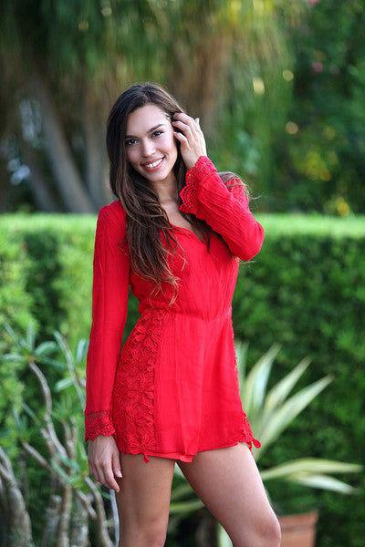 BIKINI.COM Lace Romper - Red Romper | Red|Adrianne