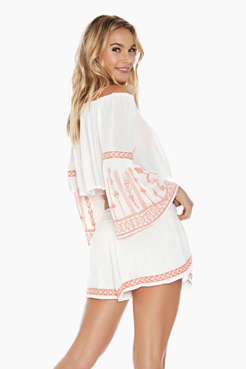L SPACE Crawford Off The Shoulder Top - Ivory Top |  Ivory| L Space Crawford Off The Shoulder Top - Ivory Features:  Off-the-shoulder crop top Adjustable drawstring neckline Bell sleeves Colorful embroidery detail 100% viscose Hand wash in cold water. Lay flat to dry. Back View