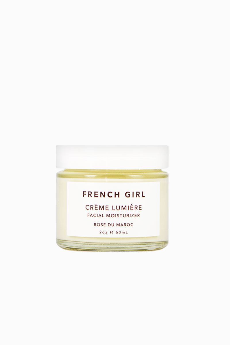 FRENCH GIRL ORGANICS Crème Lumière - Rose Du Maroc 2 oz Beauty | Rose Du Maroc|French Girl Organics Creme Lumiere - Hyaluronic Acid - strengthens and protects the skin, helping it to retain a healthy balance of moisture and elasticity. Rose Geranium and Frankincense essential oils - minimize inflammation and improve circulation. Lavender, Rooibos and Pomegranate extracts - provide antioxidant benefits.