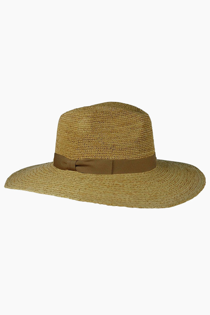 HAT ATTACK Raffia Crochet Rancher Hat - Natural Hat | Natural| Hat Attack Raffia Crochet Sunhat - Natural Features:  Lightweight rancher hat Decorative hatband with bow detail Raffia Spot clean Front View