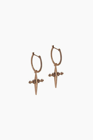 LUV AJ Cross Dangle Hoop Earrings - Rose Gold Jewelry | Rose Gold| Luv Aj Cross Hoops - Rose Gold Side View Small textured beaded hoop earrings Pave detailed hanging cross charms  Sold as a Pair  Rose gold plated 31mm from top of hoop to bottom of cross, hoop alone measures 14mm