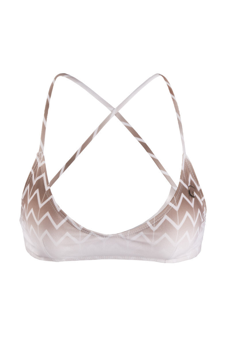 KOVEY Swell Criss Cross Back Bralette Bikini Top - Driftwood Brown Chevron Print Bikini Top | Driftwood Brown Chevron Print | Kovey Swell Criss Cross Back Bralette Bikini Top - Driftwood Brown Chevron Print Cross back top with removable padding Certain colors have contrast color lining Ties at neck and back Adjustable Front View