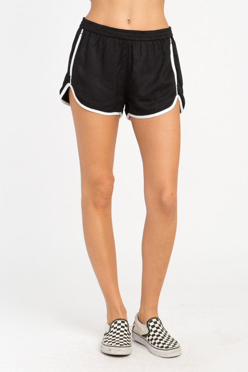 RVCA Cruising Shorts - Black Shorts | Black| RVCA Cruising Shorts - BlackFeatures:  Cruising elastic shorts  Relaxed fit soft short Low-rise silhouette Contrast white binding Elastic waistband for a comfortable fit On seam pockets, a curved hemline, and back welt pockets 100% rayon Front View