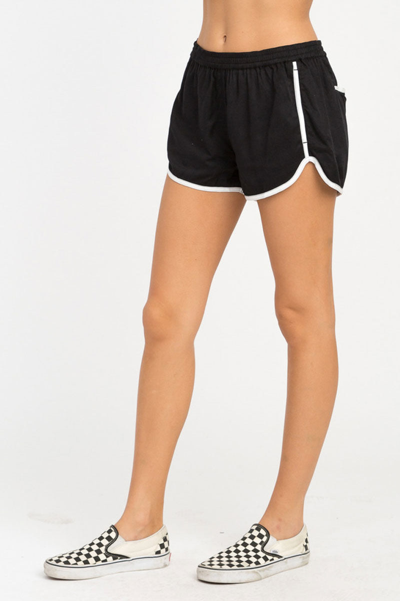 RVCA Cruising Shorts - Black Shorts | Black| RVCA Cruising Shorts - BlackFeatures:  Cruising elastic shorts  Relaxed fit soft short Low-rise silhouette Contrast white binding Elastic waistband for a comfortable fit On seam pockets, a curved hemline, and back welt pockets 100% rayon Side View