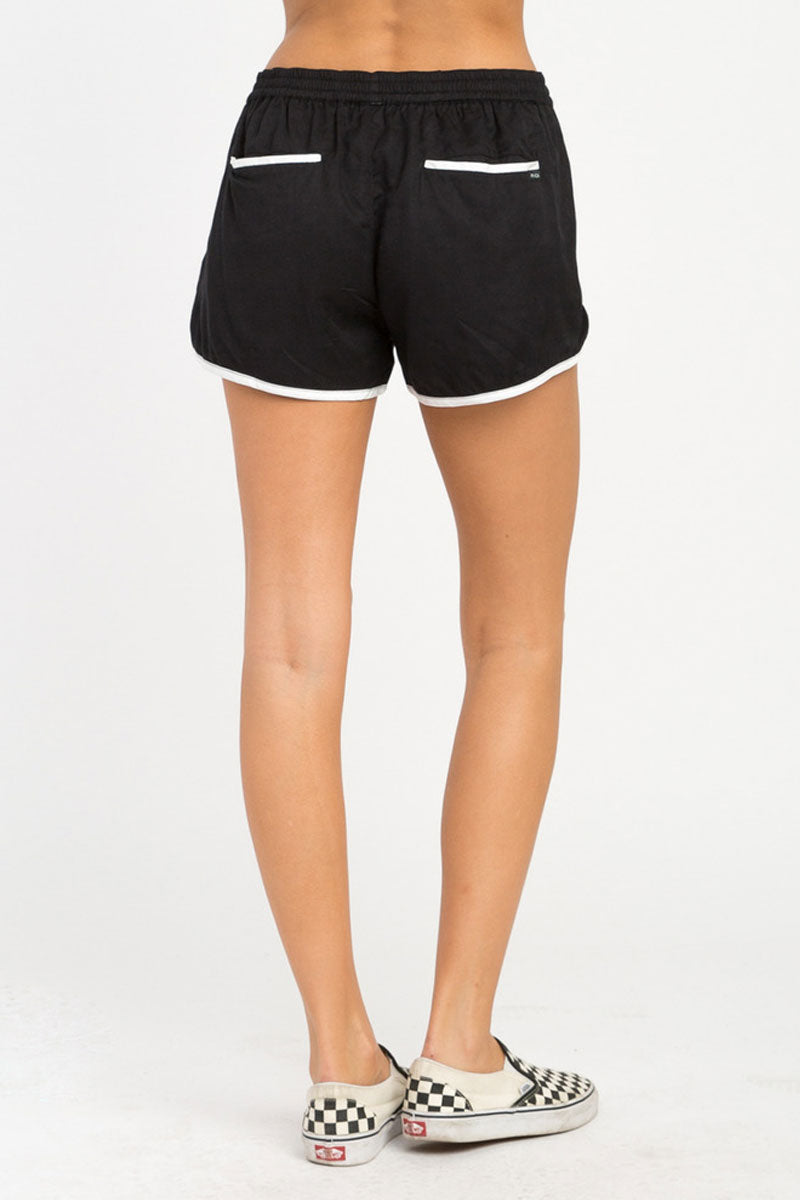RVCA Cruising Shorts - Black Shorts | Black| RVCA Cruising Shorts - BlackFeatures:  Cruising elastic shorts  Relaxed fit soft short Low-rise silhouette Contrast white binding Elastic waistband for a comfortable fit On seam pockets, a curved hemline, and back welt pockets 100% rayon Back View