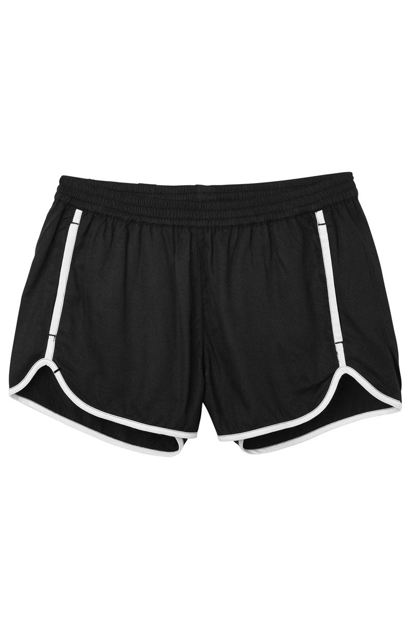 RVCA Cruising Shorts - Black Shorts | Black| RVCA Cruising Shorts - BlackFeatures:  Cruising elastic shorts  Relaxed fit soft short Low-rise silhouette Contrast white binding Elastic waistband for a comfortable fit On seam pockets, a curved hemline, and back welt pockets 100% rayon Flatlay  View