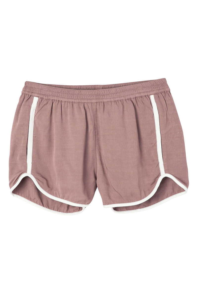 RVCA Cruising Shorts - Raisin Shorts | Raisin| RVCA Cruising Shorts - Raisin Features:  Cruising elastic shorts  Relaxed fit soft short Low-rise silhouette Contrast white binding Elastic waistband for a comfortable fit On seam pockets, a curved hemline, and back welt pockets 100% rayon Flatlay View