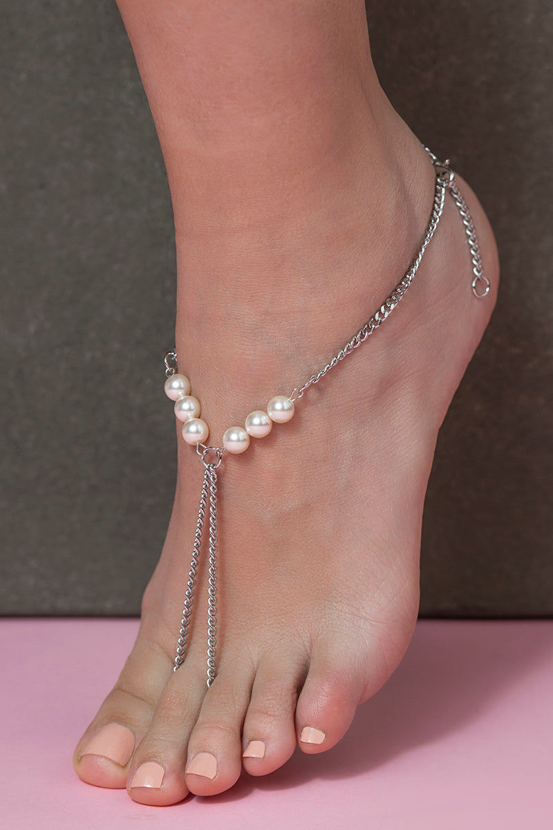DYOSAH Pearl Anklet Jewelry | Pearl| Dyosah Pearl Anklet Close Up View Infinity Shaped Anklet Stainless steel high-end chains Beautiful Swarovski Pearls Detail Lobster Clasp Closure  Chain Extension Link