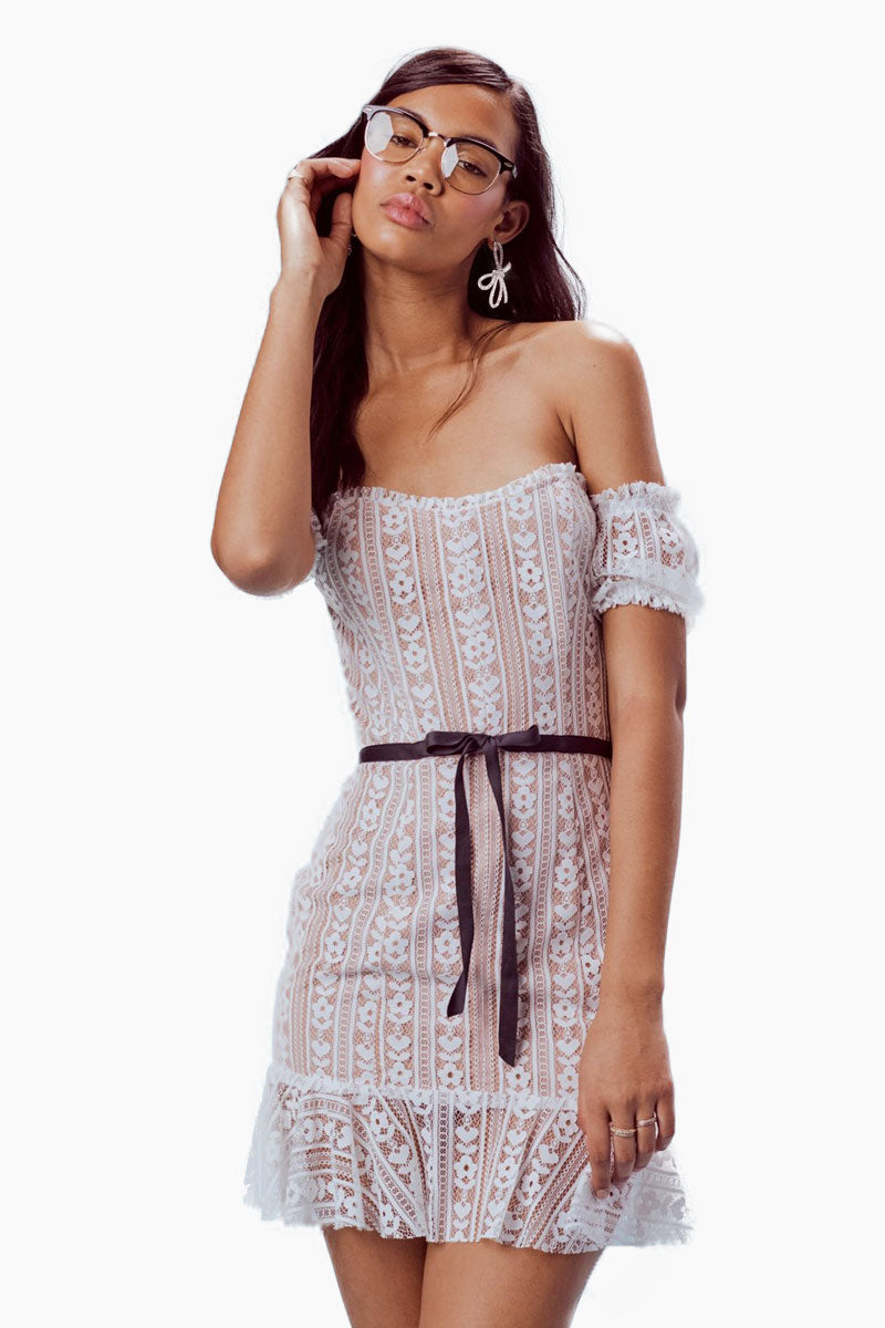 FOR LOVE AND LEMONS Dakota Lace Mini Dress - White Dress | White| For Love And Lemons Dakota Lace Mini Dress – White.Features:  Custom Stripe Heart Lace Waist Bow Mini Ruffles Throughout Back Zipper Fully Lined Dry Clean Only Self: 100% Nylon; Lining: 96% Polyester/4% Spandex Front VIew