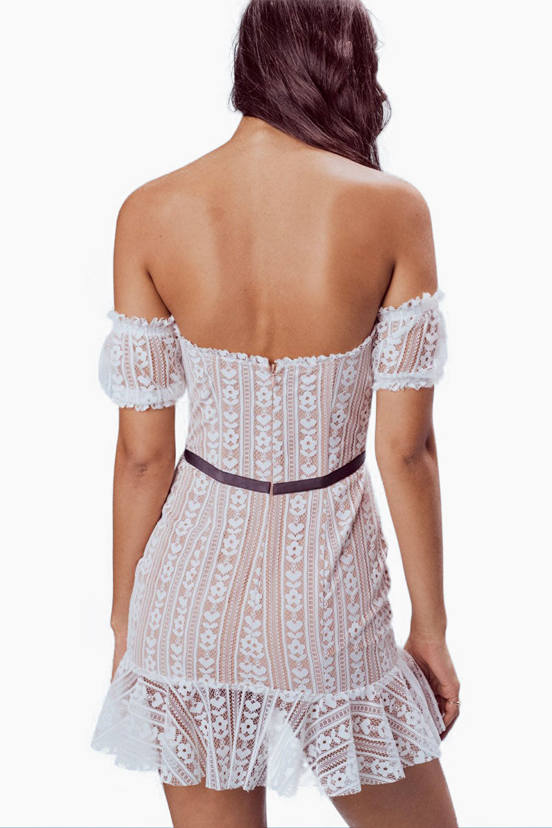FOR LOVE AND LEMONS Dakota Lace Mini Dress - White Dress | White| For Love And Lemons Dakota Lace Mini Dress – White.Features:  Custom Stripe Heart Lace Waist Bow Mini Ruffles Throughout Back Zipper Fully Lined Dry Clean Only Self: 100% Nylon; Lining: 96% Polyester/4% Spandex Back View