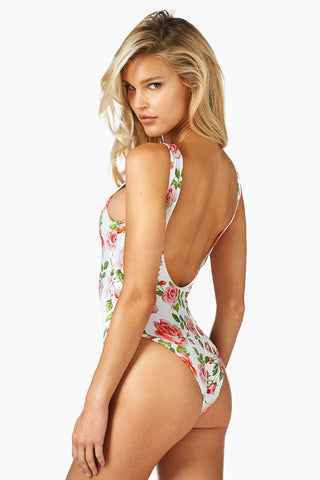 MONTCE SWIM Denise Austin Lace Up One Piece Swimsuit - White Floral Rose One Piece | White Floral Rose| Montce Swim Denise Austin Lace Up One Piece Swimsuit - White Floral Rose. Features: lace up chest, mid rise back. Cheeky coverage. View: back