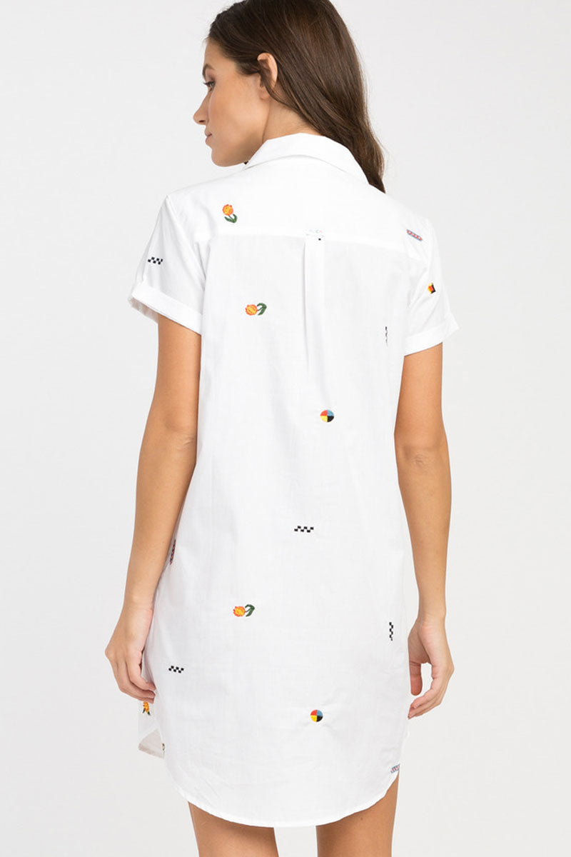RVCA Ditz Embroidered Shirt Dress - White Dress | White| RVCA Ditz Embroidered Shirt Dress - White Short sleeve shirt dress Button-up closure Allover embroidery by Luke Pelletier  Rolled sleeves Chest pocket Curved hemline 100% cotton Back View