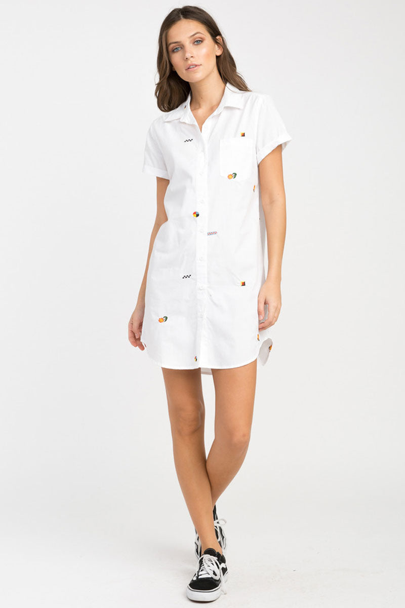 RVCA Ditz Embroidered Shirt Dress - White Dress | White| RVCA Ditz Embroidered Shirt Dress - White Short sleeve shirt dress Button-up closure Allover embroidery by Luke Pelletier  Rolled sleeves Chest pocket Curved hemline 100% cotton Front View