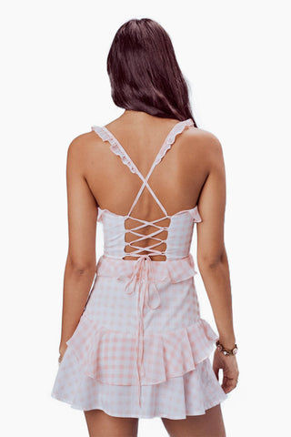 FOR LOVE AND LEMONS Dixie Ruffled Mini Dress - Pink Gingham Dress | Pink Gingham|For Love And Lemons Dixie Ruffled Mini Dress - Pink Gingham Features:  Cotton and Chiffon Ruffled Mini V-wire at Center Front Lace Up Detail at Back  Fully Lined Dry Clean Only Back View