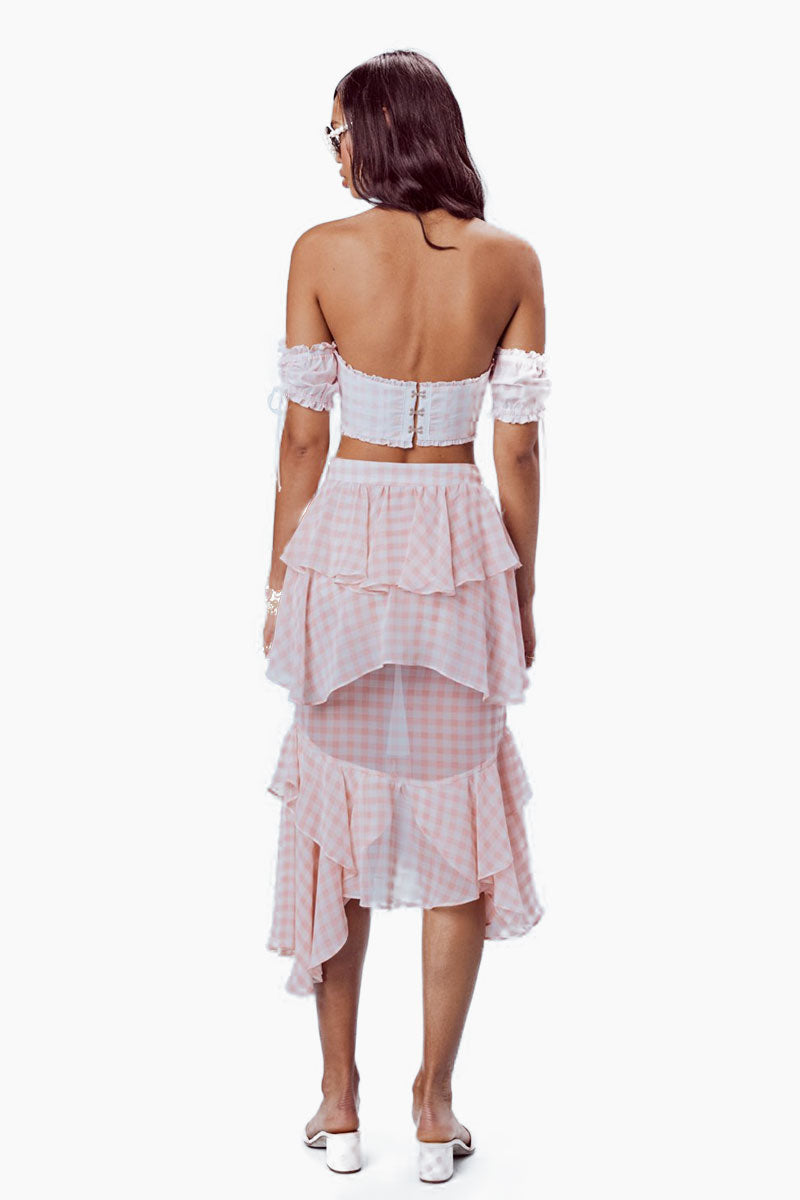 FOR LOVE AND LEMONS Dorothy Ruffled Midi Skirt - Pink Gingham Skirt | Pink Gingham| For Love And Lemons Dorothy Ruffled Midi Skirt -Pink Gingham Features:  Layered Ruffle Details Invisible Side Zipper Unlined Dry Clean Only Self: 100% Polyester; Lining: 97% Polyester/3% Spandex Back View