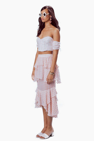 FOR LOVE AND LEMONS Dixie Ruffled Crop Top - Pink Gingham Top |  Pink Gingham| For Love And Lemons Dixie Ruffled Crop Top -  Pink Gingham Features:  Strapless Crop Top Mini Ruffles Shirred Puff Sleeves Exposed Back Hook-and-Eye Closure Fully Lined Dry Clean Only Self: 100% Cotton; Lining: 100% Cotton Side View