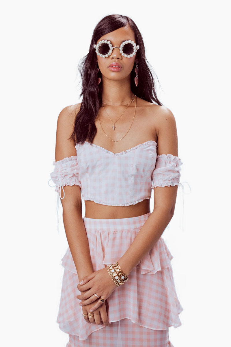 FOR LOVE AND LEMONS Dorothy Ruffled Midi Skirt - Pink Gingham Skirt | Pink Gingham|Dorothy Ruffled Midi Skirt -Features:  Layered Ruffle Details Invisible Side Zipper Unlined Dry Clean Only Self: 100% Polyester; Lining: 97% Polyester/3% Spandex